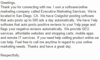 LinkedIn spam message
